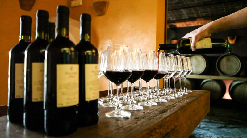 wine tasting chianti classico in the tuscan winery
